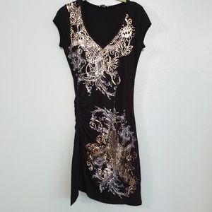 🔴 CACHE Knit Dress Black Gold Print size MEDIUM